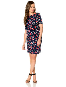 A Pea in the Pod Short Sleeve Knot Front Maternity Dress