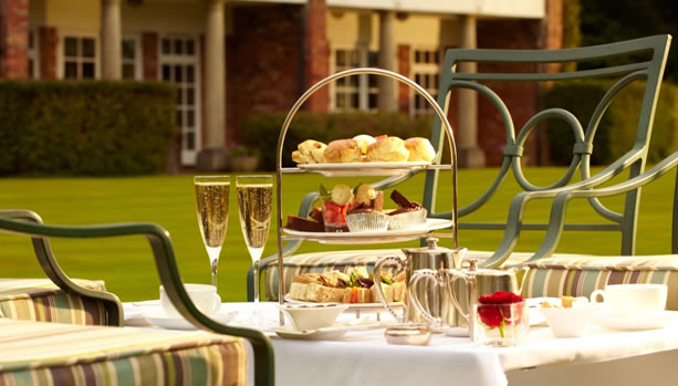 Hampshire Babymoon at Chewton Glen Hotel & Spa, Afternoon Tea in the Garden