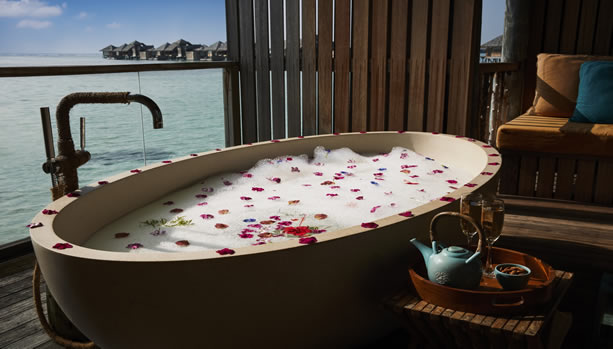 Maldives Babymoon at Gili Lankanfushi - Meera Spa Bath