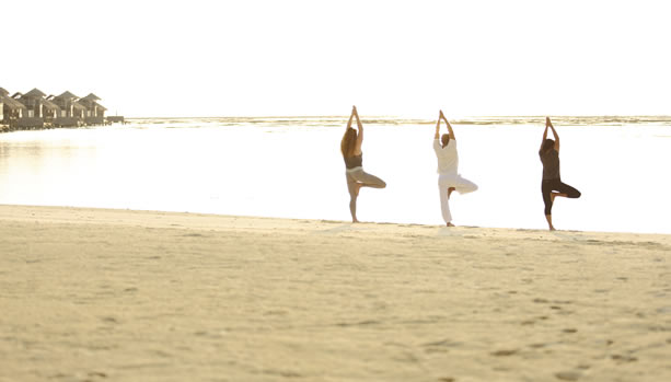 Maldives Babymoon at Gili Lankanfushi - Sunrise Yoga