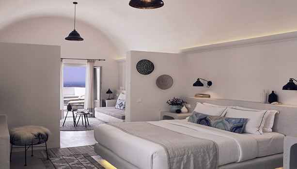 Santorini Babymoon at Santo Maris Oia Luxury Suites & Spa - junior deluxe suite sunset sea view