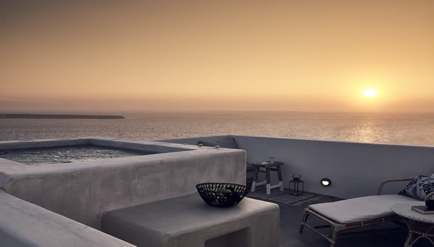 Santorini Babymoon at Santo Maris Oia Luxury Suites & Spa - junior deluxe suite sunset sea view with jacuzzi