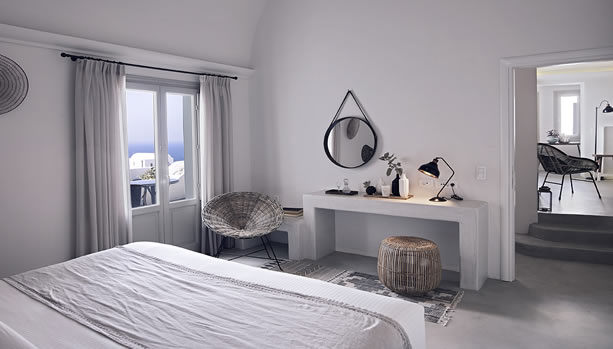 Santorini Babymoon at Santo Maris Oia Luxury Suites & Spa - suite sea view bedroom