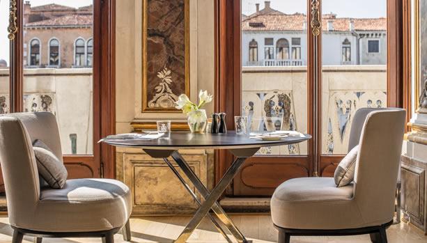 Aman Venice, Italy. Venice Babymoon. Piano Noble Dining area