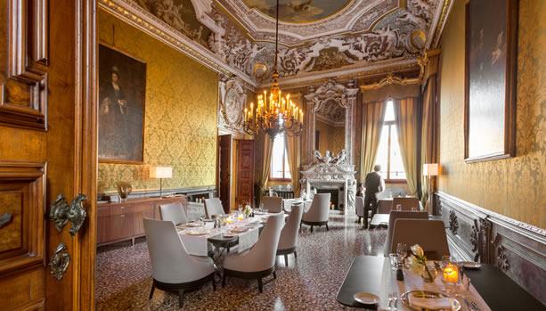 Aman Venice, Italy. Venice Babymoon. Yellow Dining Room