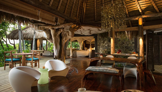 North Island - Seychelles Babymoon - Presidential Villa, private lounge area